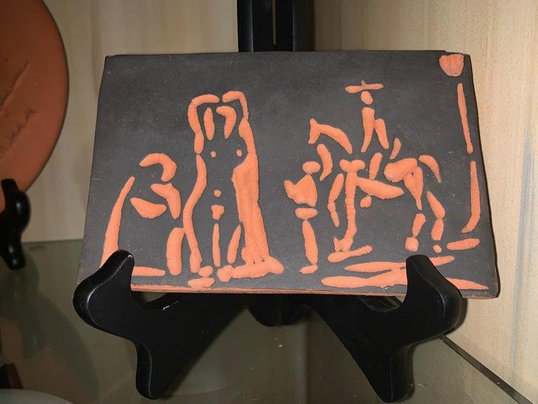 Pablo Picasso Abstract Print - Picasso Madoura Ceramic Ramie 540 Figures and Cavalier