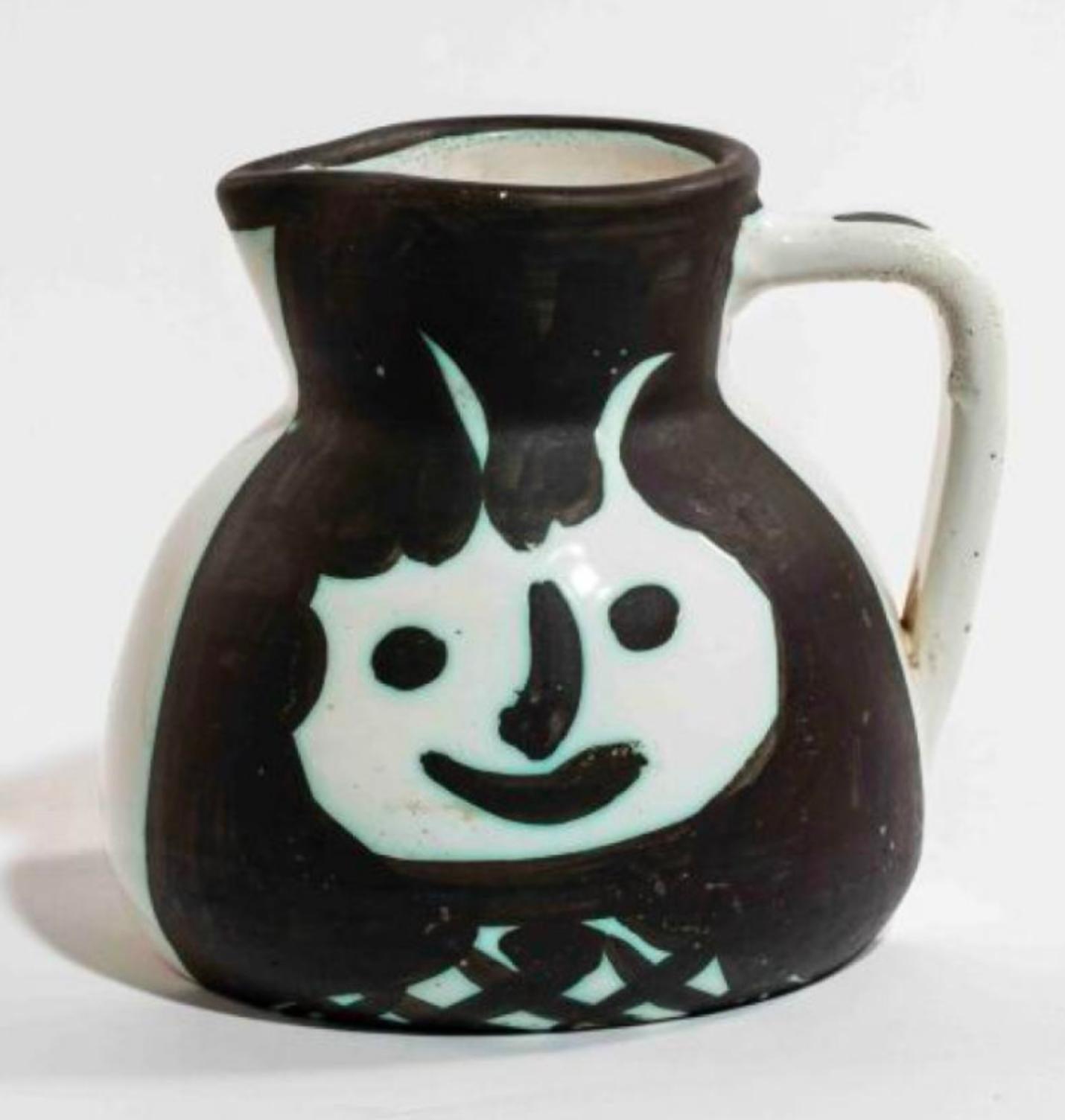 Pichet Têtes, Pablo Picasso, 1950's. Pitcher, Ceramic, Design, Earthenware