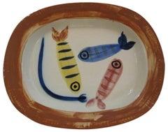 Ramie 31 Picasso Madoura Ceramic Four Polychrome Fishes