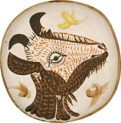 Tête de chèvre de profil, Pablo Picasso, Ceramic, 1950's, terracotta, Interior