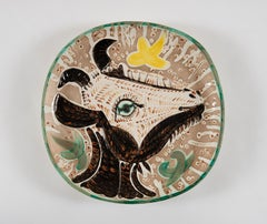 Tête de chèvre de profil, Pablo Picasso, Earthenware, Ceramic, Plate, 1950's