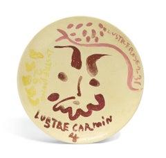 Tête de faune avec tests de lustre rose, Pablo Picasso, Unique work, Plate