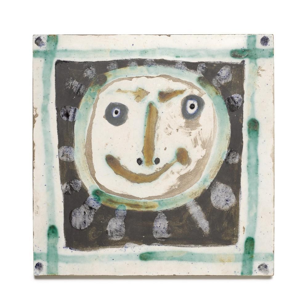 Tête Solaire, Pablo Picasso, Unique Ceramic, 1950's, Earthenware, Design, Tile
