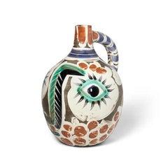 Visage au nez noir, Pablo Picasso, Madoura, Vallauris, Ceramic, 1960's, Postwar