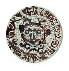 Visage de faune tourmenté, Picasso, 1950's, Plate, Ceramic, Design, Figurative