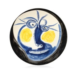 Visage, Face, Pablo Picasso, 1960's, Ceramic, Madoura, Plate, Sculpture, Design