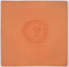 Visage in a Circle - Original ceramic tile, Madoura (Alain Ramié #632)