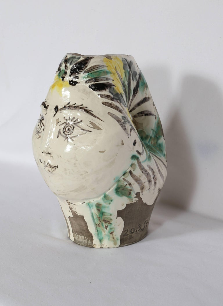 Woman's Head, Decorated with Flowers, Ceramic by Pablo Picasso 1954 For Sale 2