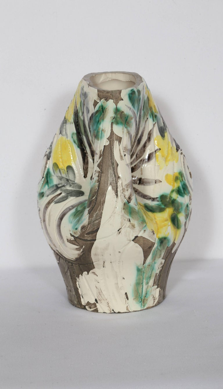Woman's Head, Decorated with Flowers, Ceramic by Pablo Picasso 1954 For Sale 3