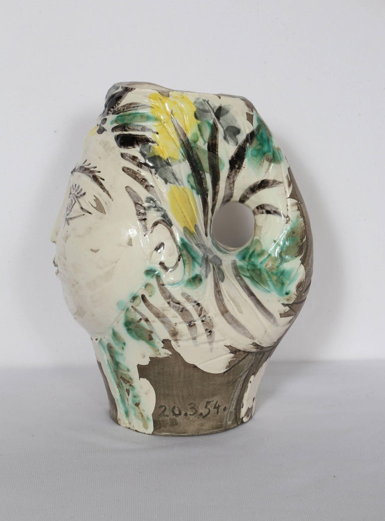 Woman's Head, Decorated with Flowers, Ceramic by Pablo Picasso 1954 For Sale 4