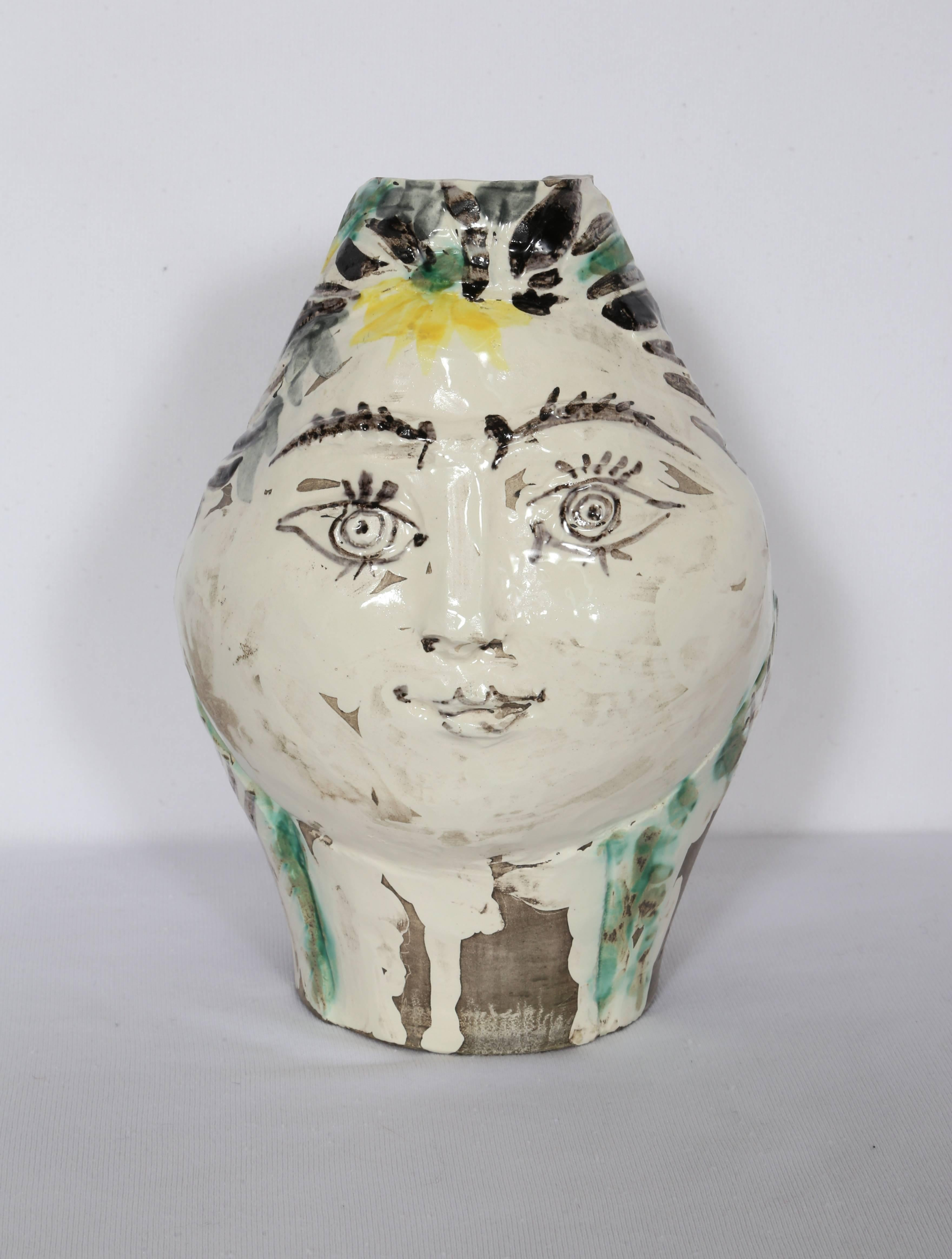Woman's Head, Decorated with Flowers, Ceramic by Pablo Picasso 1954