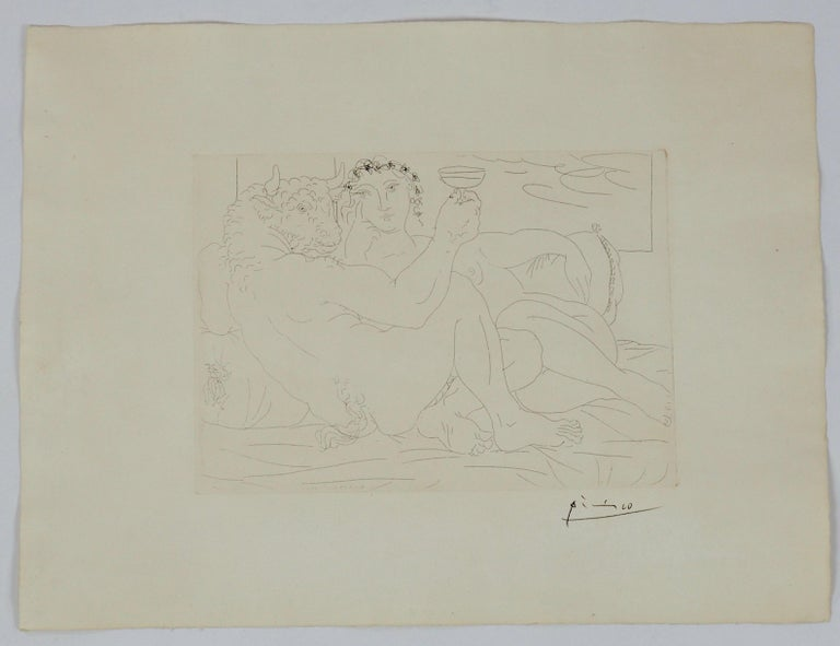 Pablo Picasso Signed Etching, Minotaure une Coupe à la Main et Jeune Femme, 1933 In Good Condition For Sale In London, GB