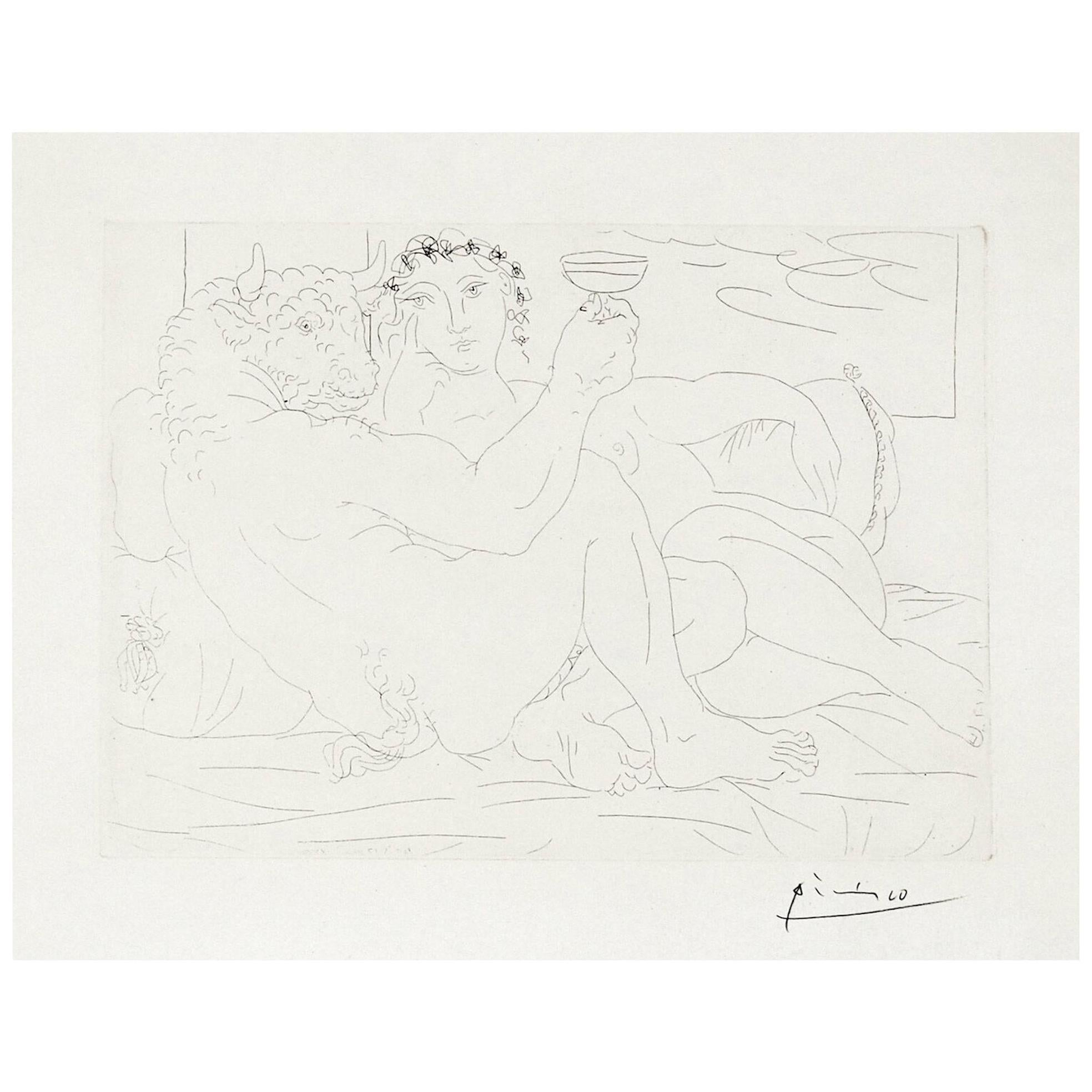 Pablo Picasso Signed Etching, Minotaure une Coupe à la Main et Jeune Femme, 1933
