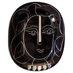 "Pablo Picasso, ""Woman face"" Dish, Ceramic, 1953, France"