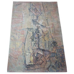 """Pablo Picasso """"Woman with Guitar"""" 1910 Danish Wool MCM Rug by Ege"""