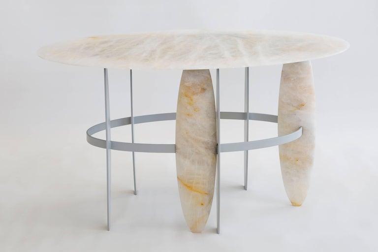 Powder-Coated Contemporary Pablona Moon White Quartzite Lumix Side Table by Leonardo Di Caprio For Sale