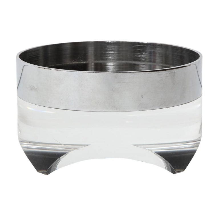 Mid-Century Modern Pace Bowl, Lucite and Chrome Nickel Steel For Sale
