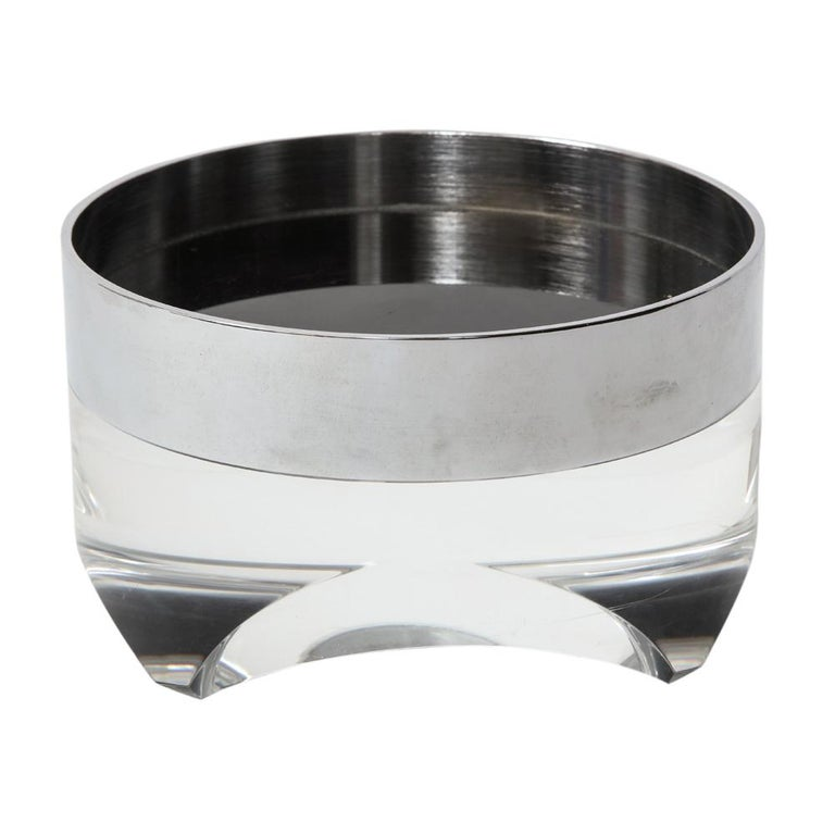 Molded Pace Bowl, Lucite and Chrome Nickel Steel For Sale