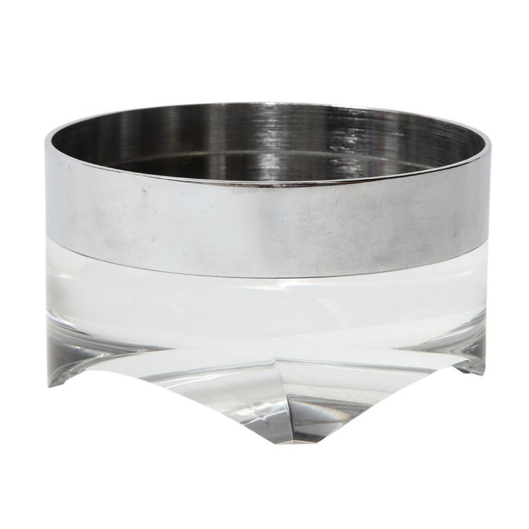 Pace bowl, lucite polished steel. Small scale chunky bowl with 1.25
