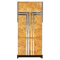 Pace Burl Wood and Chrome Armoire Cabinet, Italy, 1970