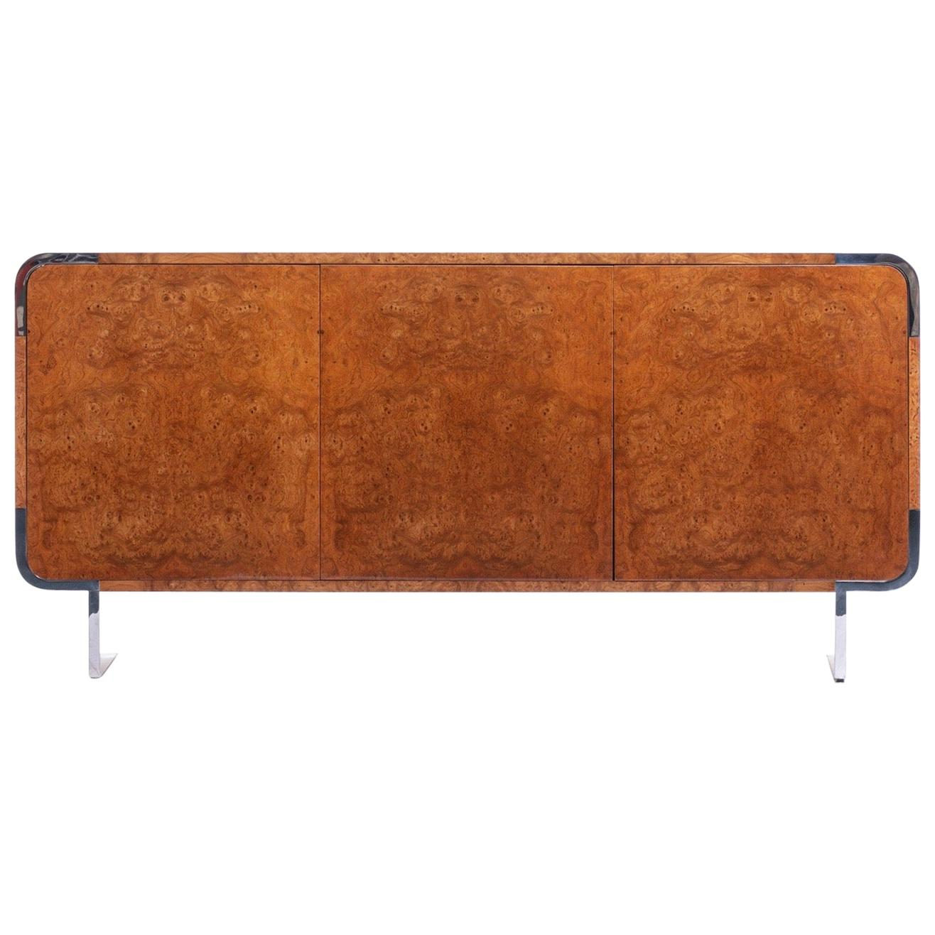 Pace Burl Wood and Chrome Credenza by Leon Rosen, circa 1974
