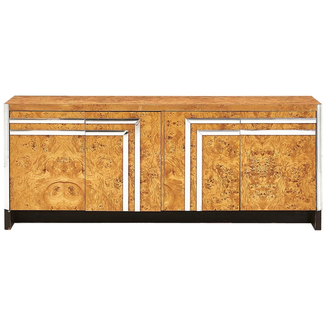 Pace Burl Wood and Chrome Dresser, Italy, 1970