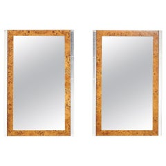 Pace Burl Wood and Chrome Mirrors