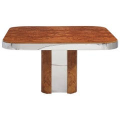 Pace Burl Wood and Chrome Dining Table, 1970s