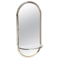 Pace Chrome and Brass Racetrack Wall Mirror Vintage