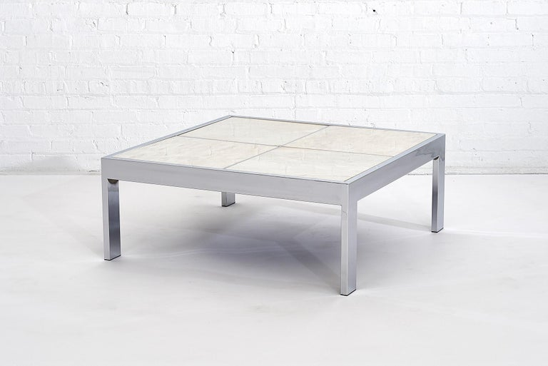 American DIA Chrome and Marble Coffee Table, 1970s For Sale