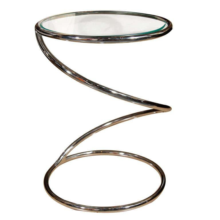 Pace Chrome Spiral Drinks Table