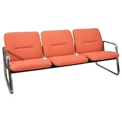 Pace Chrome Tubular 3-Seat Settee Sofa, circa 1980