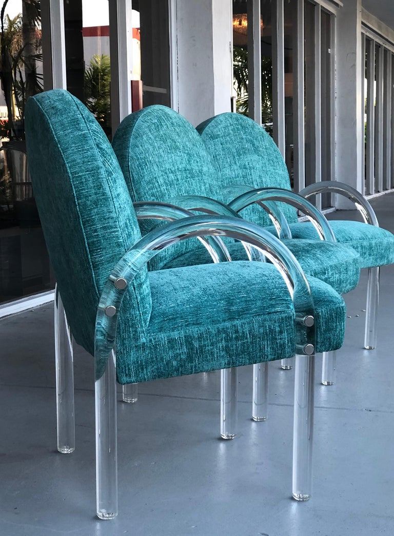 Pace Collection 6 Plush Turquoise Lucite Dining Chairs by Leon Rosen In Good Condition For Sale In Miami, FL