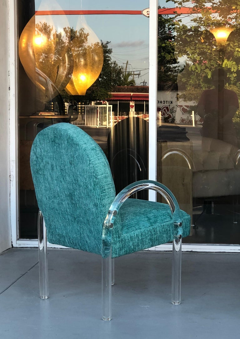 Late 20th Century Pace Collection 6 Plush Turquoise Lucite Dining Chairs by Leon Rosen For Sale