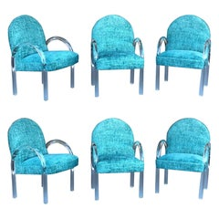 Pace Collection 6 Plush Turquoise Lucite Dining Chairs by Leon Rosen