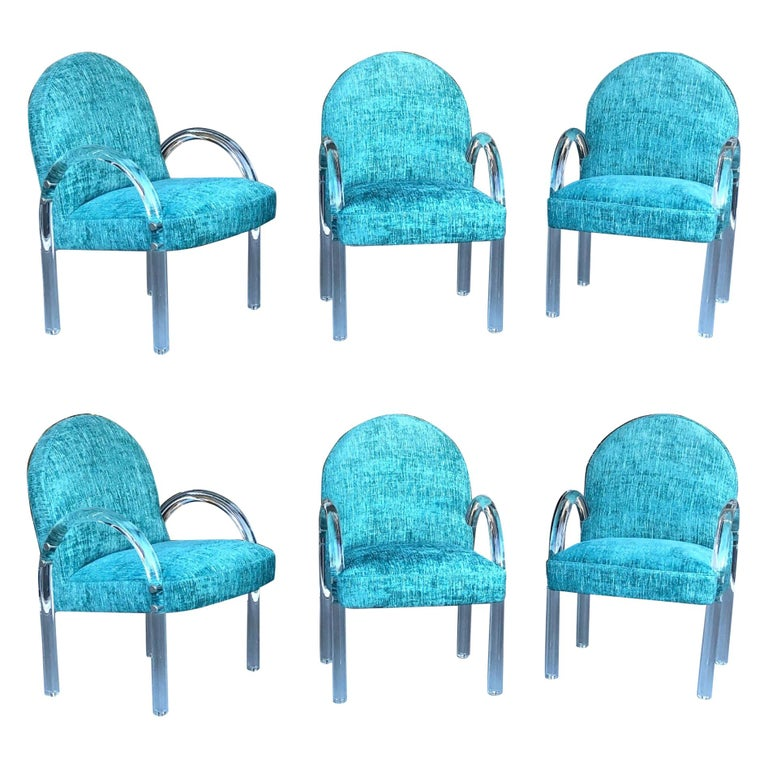 Pace Collection 6 Plush Turquoise Lucite Dining Chairs by Leon Rosen For Sale