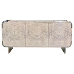 Pace Collection 8800 Bleached Burl and Chrome Sideboard by Irving M. Rosen