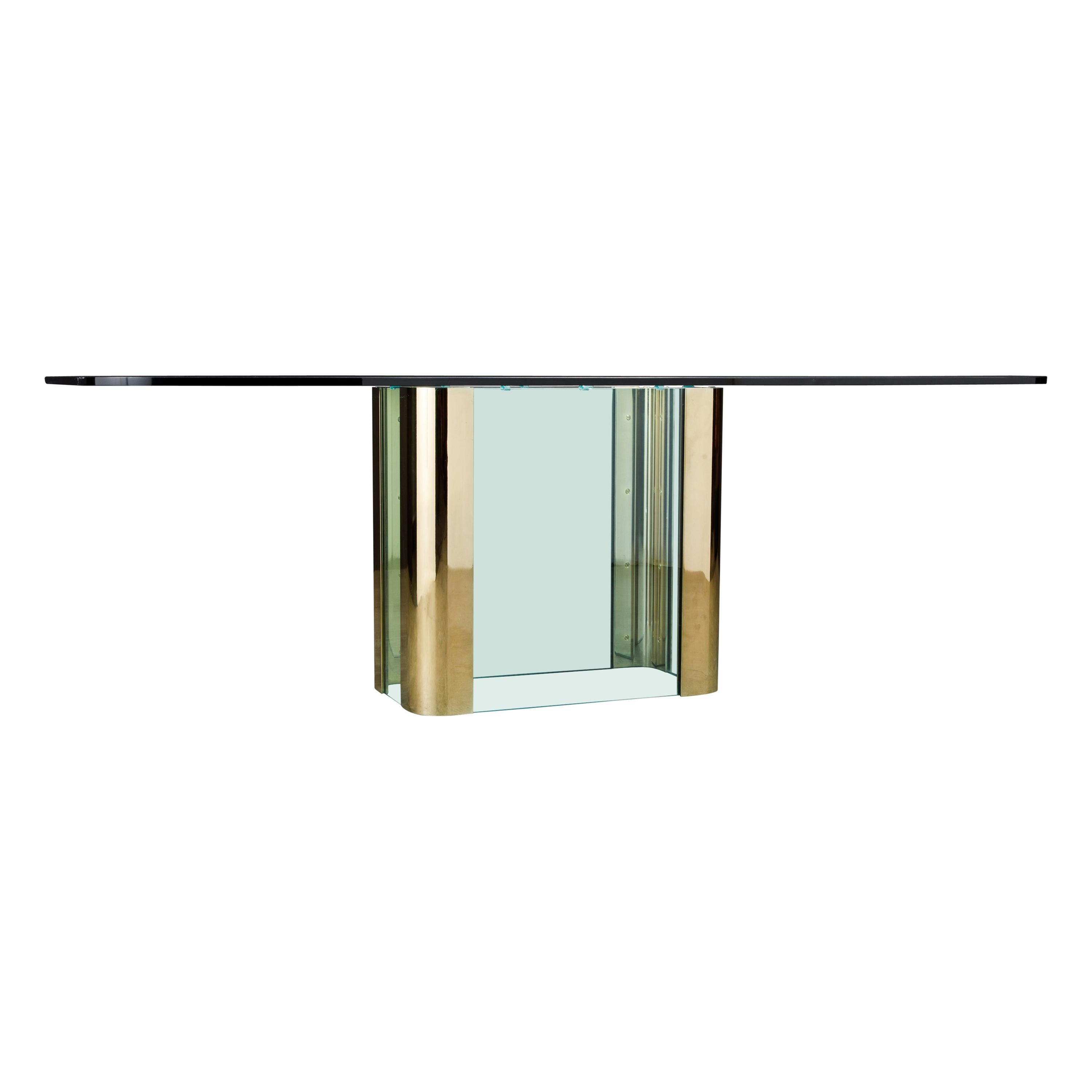 Pace Collection Brass and Glass Dining or Conference Table, circa 1970s