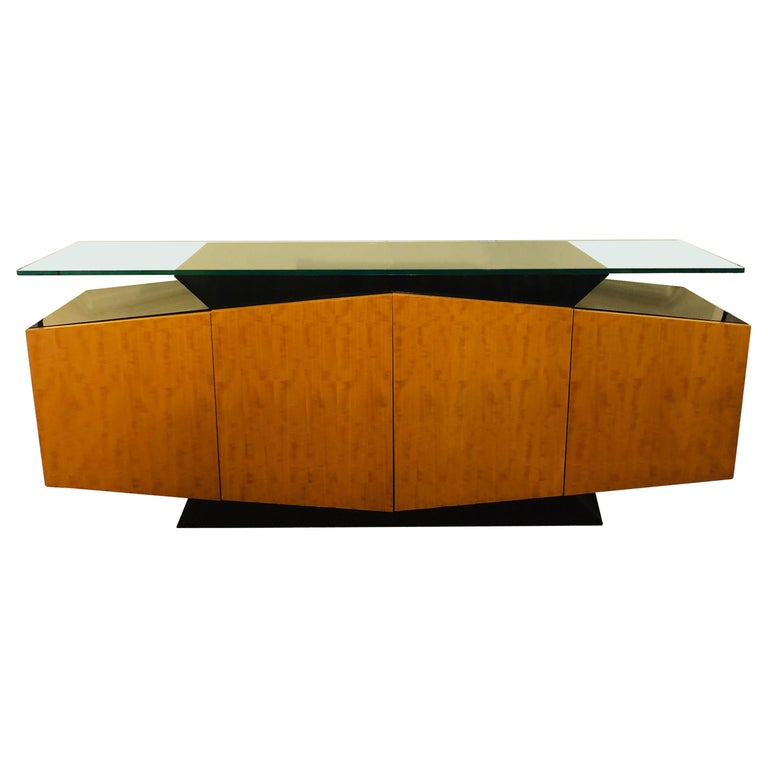 Pace Collection Burl and Ebony Floating Beveled Glass Top Sideboard Cabinet For Sale