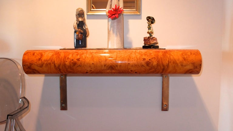 Mid-Century Modern Pace Collection Burl Floating Console For Sale