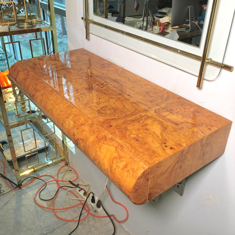 Late 20th Century Pace Collection Burl Floating Console For Sale