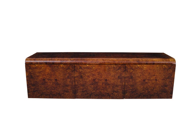 Pace Collection Burl Wood Credenza, Wall Mounted In Good Condition For Sale In Chicago, IL