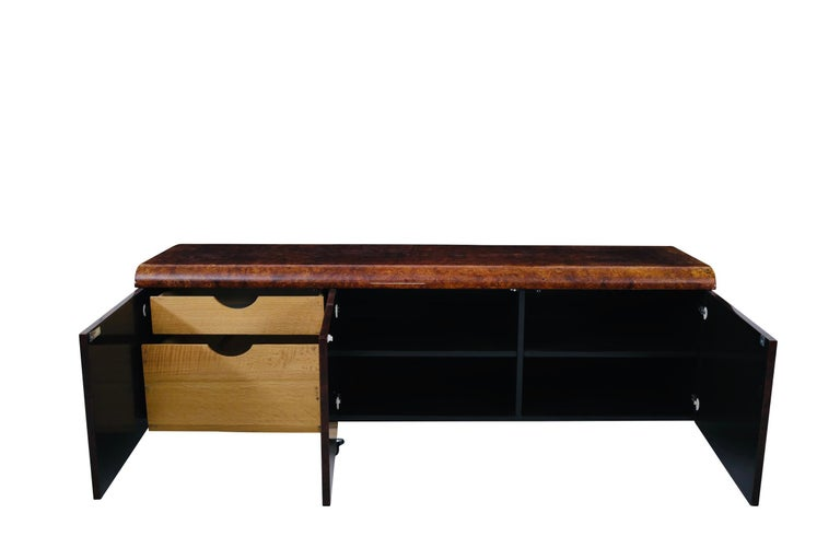 Late 20th Century Pace Collection Burl Wood Credenza, Wall Mounted For Sale