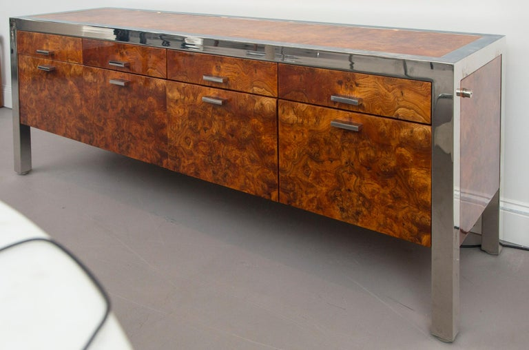 Pace Collection burled wood and chrome credenza.