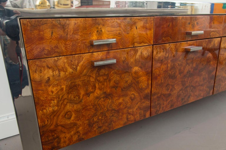 Pace Collection Burled Wood and Chrome Credenza In Good Condition For Sale In Norwalk, CT