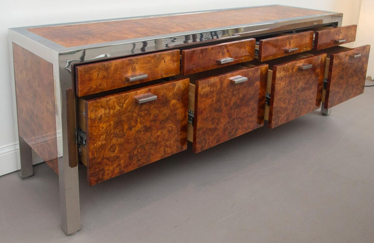 Late 20th Century Pace Collection Burled Wood and Chrome Credenza For Sale