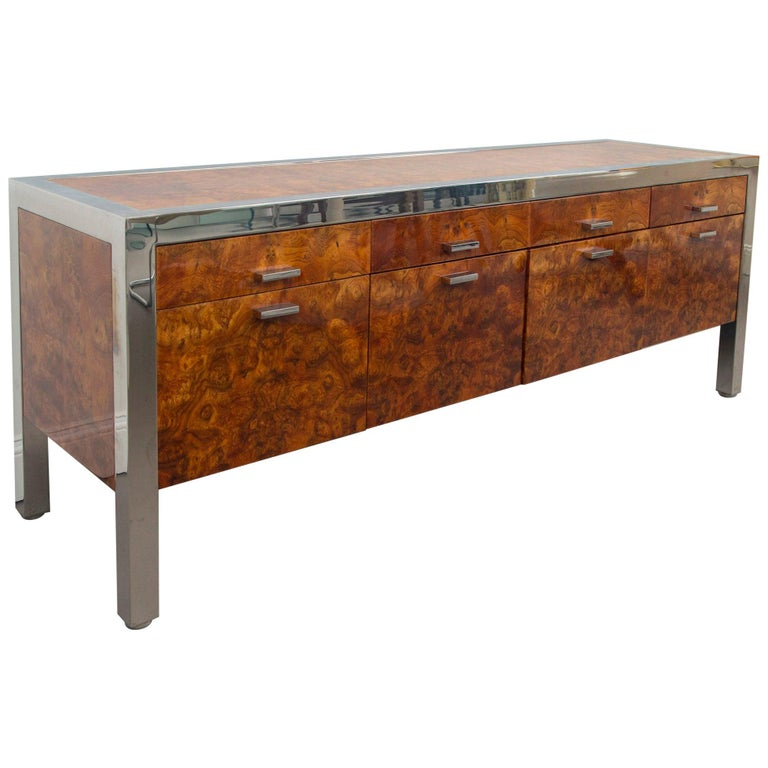 Pace Collection Burled Wood and Chrome Credenza For Sale