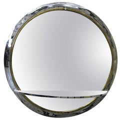 Pace Collection Chrome and Brass Mirror with Glass Shelf