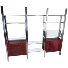 Pace Collection Chrome and Burl Wall Unit by Janet Schwietzer
