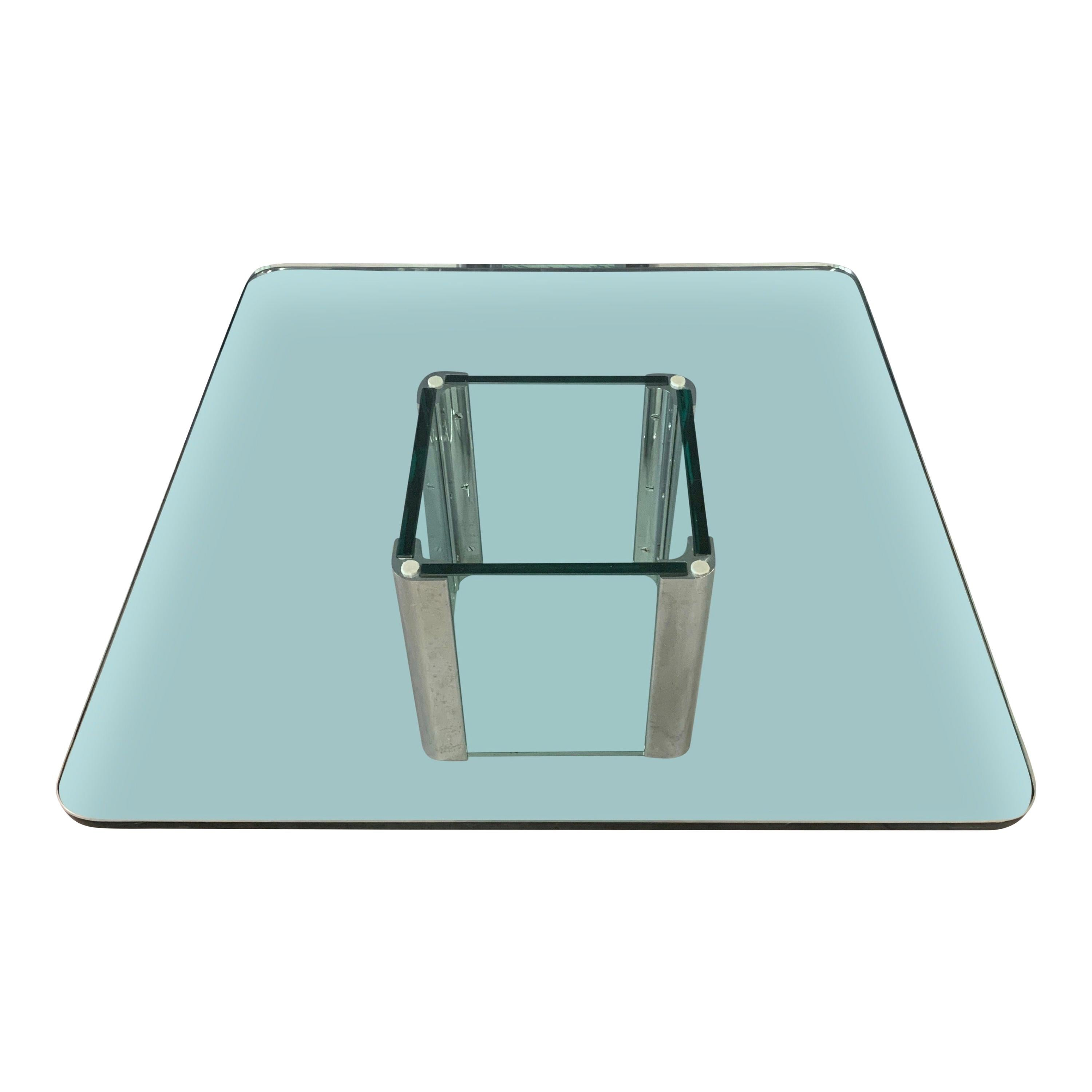 Pace Collection Chrome and Glass Square Coffee Table Midcentury